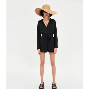 Zara Shirt Style Jumpsuit with Long Sleeves